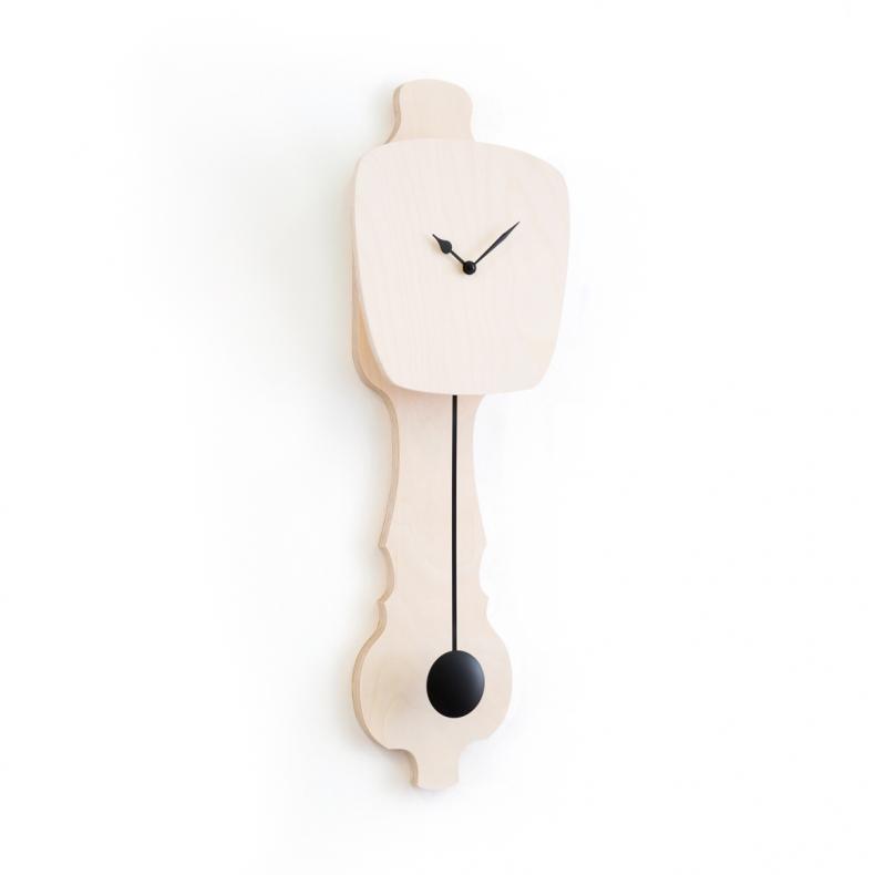 houten design klok met slinger, wooden design pendulum clock