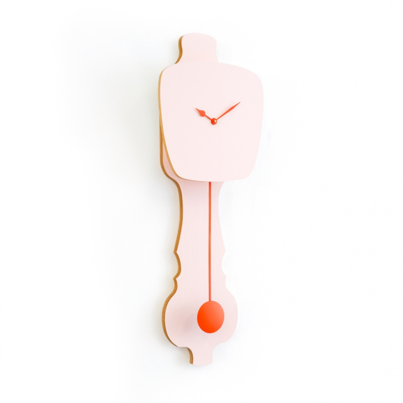 roze design klok met slinger, pink design pendulum clock