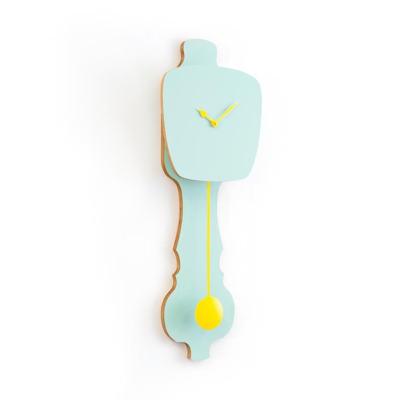 Groene Dutch design wandklok met slinger