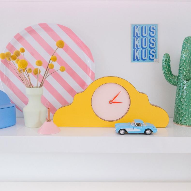 Gele design klok - mantelklok