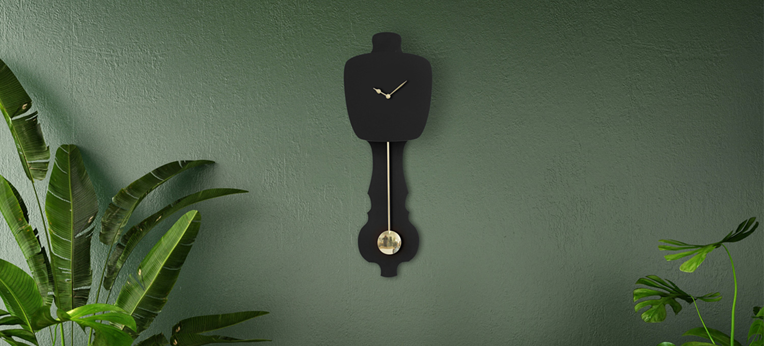 Black dutch design wall clock